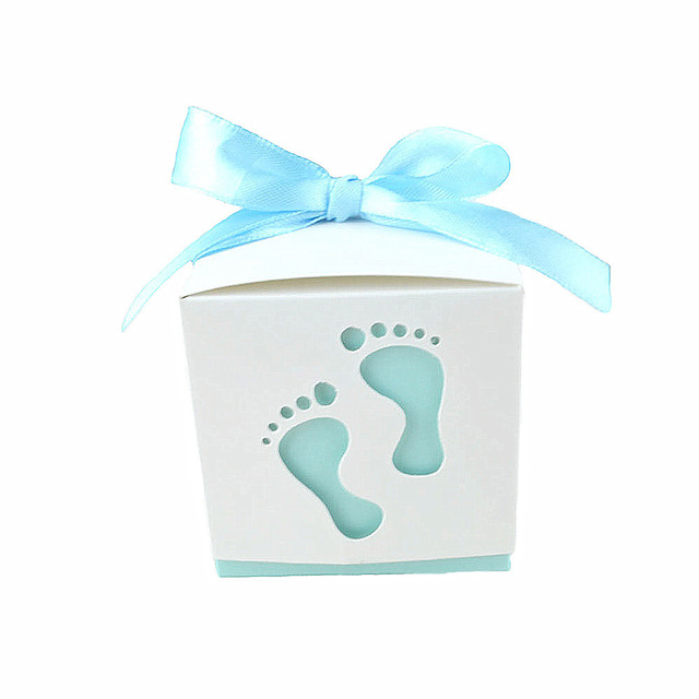 50pcs/lot Baby Footprint Laser Cut Candy Box Baby Shower Party Favors Gift Paper Boxes Kids Birthday Party Supplies