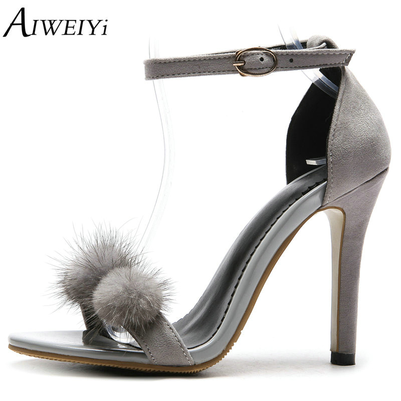 AIWEIYi Sexy Women Sandals High Heels Shoes Brand Designer Thin Heel Sandals Woman Flock Open Toe Ankle Strap Party Shoes flock leather women ankle strap high heel sandals platform sexy fashion party shoes for woman black with 10cm heels ch a0060
