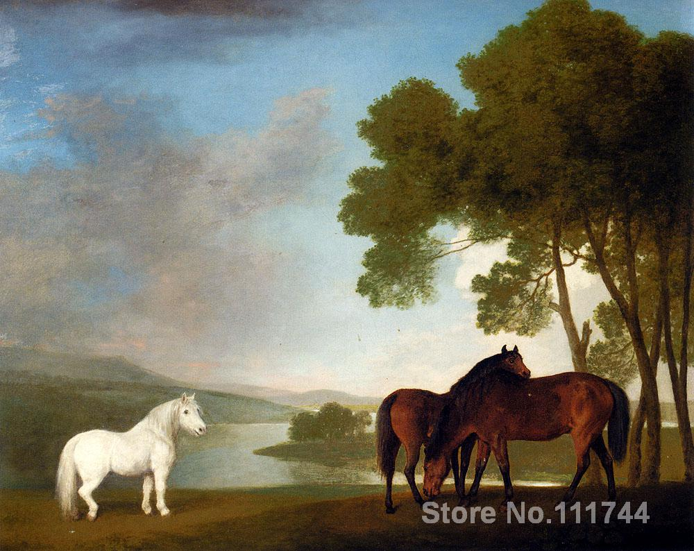 Horse paintings of George Stubbs Two Bay Mares And A Grey Pony In A Landscape Hand painted canvas art High qualityHorse paintings of George Stubbs Two Bay Mares And A Grey Pony In A Landscape Hand painted canvas art High quality