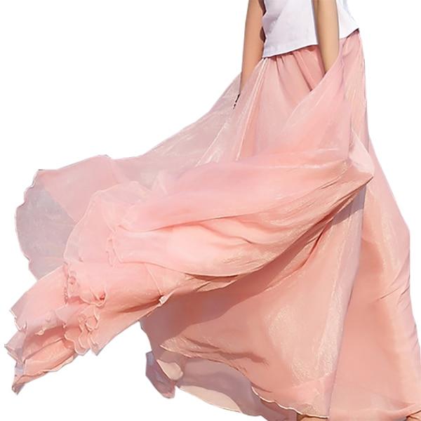 2018 High Waist Women Chiffon Long Skirts Womens Beach Summer Boho Maxi Skirt Saia Longa Faldas Ruffles Hem Long Skirt Brand