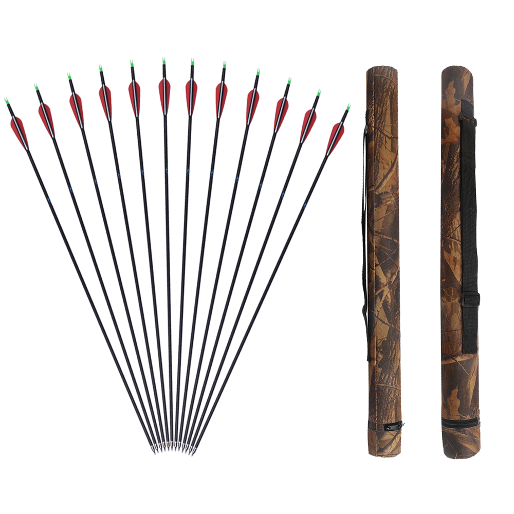 12pcs archery mixed carbon arrows spine 500 with 1pc camo arrow quiver bow and arrow whole set for sale ...