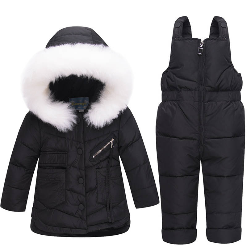 cbaf75a81 2018 Winter Children s Clothing Set Baby Girl Winter Jumpsuit Down ...