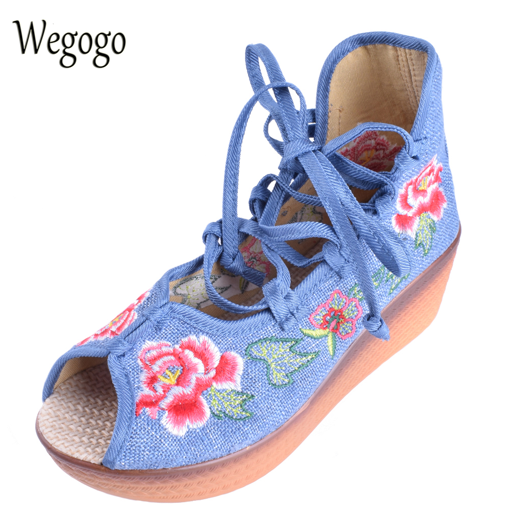 Wegogo Ethnic Women Sandals Original  Peep Toe Floral Embroidered Wedges Lace Up Summer Shoes Platform 5cm Heel Shoes For Woman yaerni women gladiator sandals wedges heel platform peep toe summer style shoes for woman