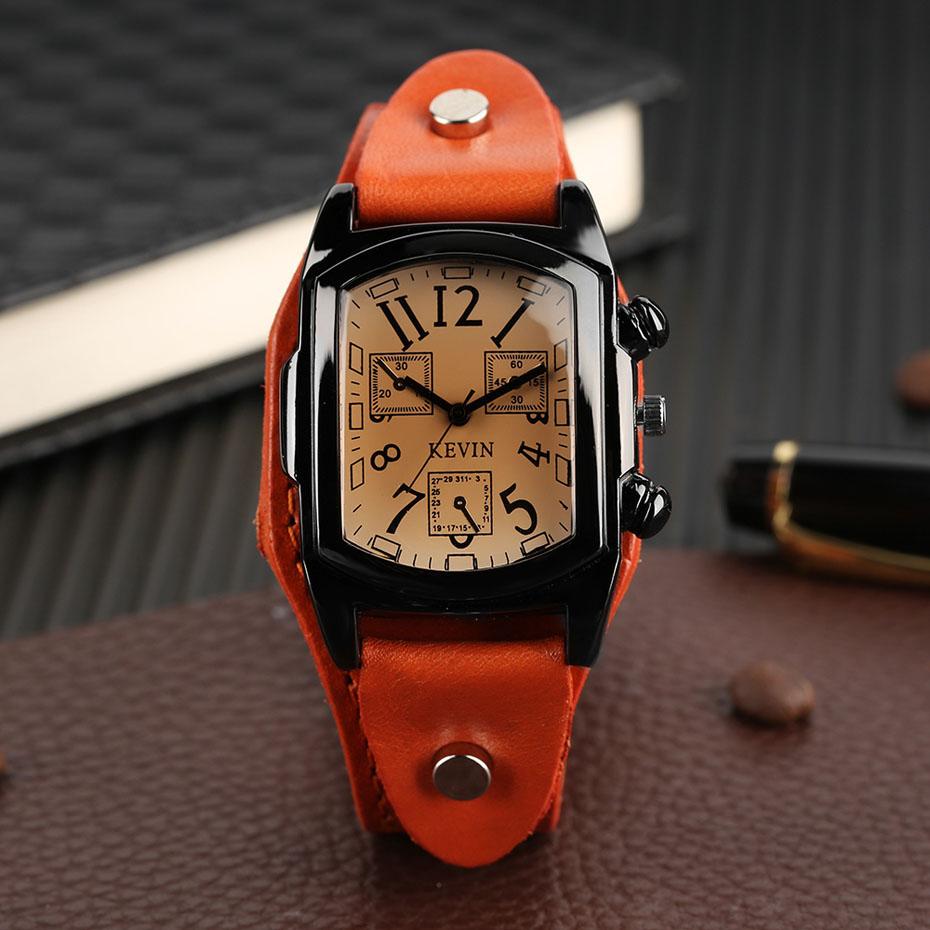 Hot Sale KEVIN Quartz Watches for Men Creative Arabic Number Rectangle Dial Leather Band Strap Male Clock for Fashion Gifts (20)