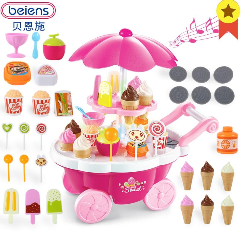 Beiens Kinder Küche Kochen Spielzeug Set Pädagogisches Pretend Spielen  Lebensmittel Kunststoff Eis Warenkorb Spielzeug Mit Licht