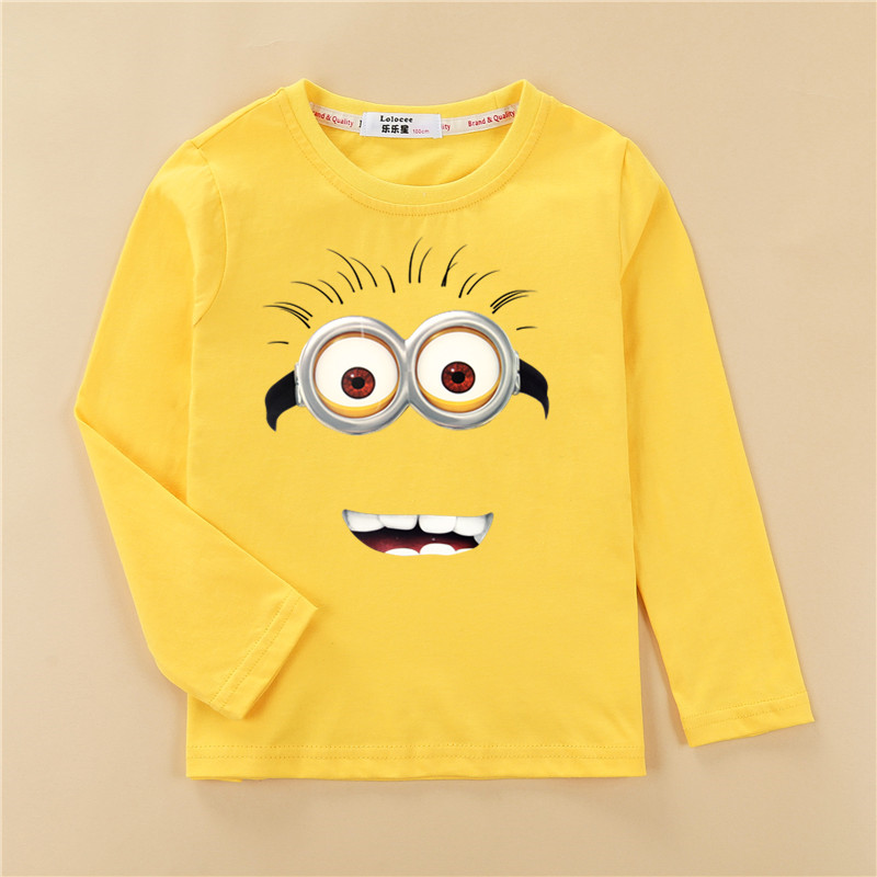 Fashion children tshirt boy's 3D cartoon smiley shirt kids long sleeve cotton clothes girl's funny face tops tees