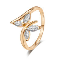 NEW gold ring Flowers AAA Azorite Ring Fashion lovers ring for women Jewelry Free Shipping