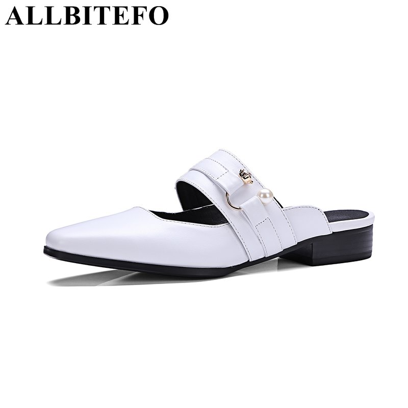ФОТО ALLBITEFO 2017 new arrive genuine leather low-heeled comfortable women sandals fashion thick heel flip flops summer sandals