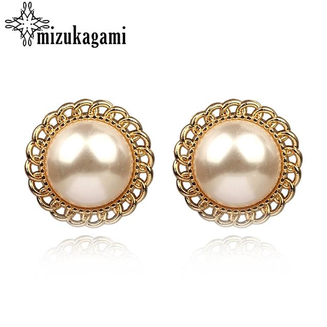 Fashion Imitation Pearl Gold Alloy Stud Earrings Round White Elegant For Women