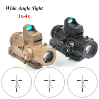 Tactical Wide Angle Sight 1x 4x Fixed Dual Purpose Scope With Mini Red Dot Scope Red Dot Sight for Rifle Caza