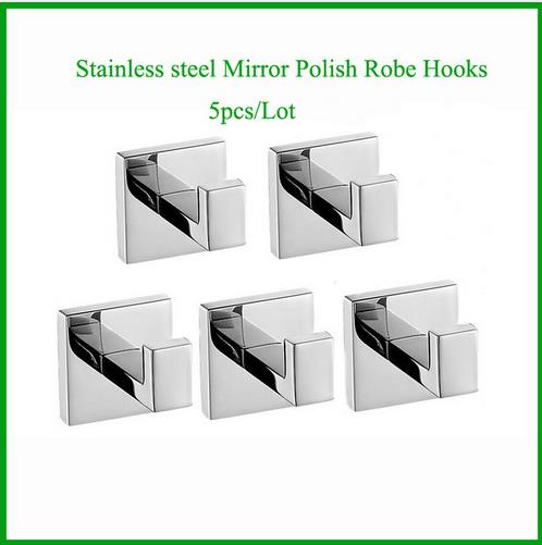5pcs Wall Mounted Mirror Polish Stainless Steel Robe Hook Wall Hanger Bathroom Accessory fixmee 50pcs white plastic invisible wall mount photo picture frame nail hook hanger
