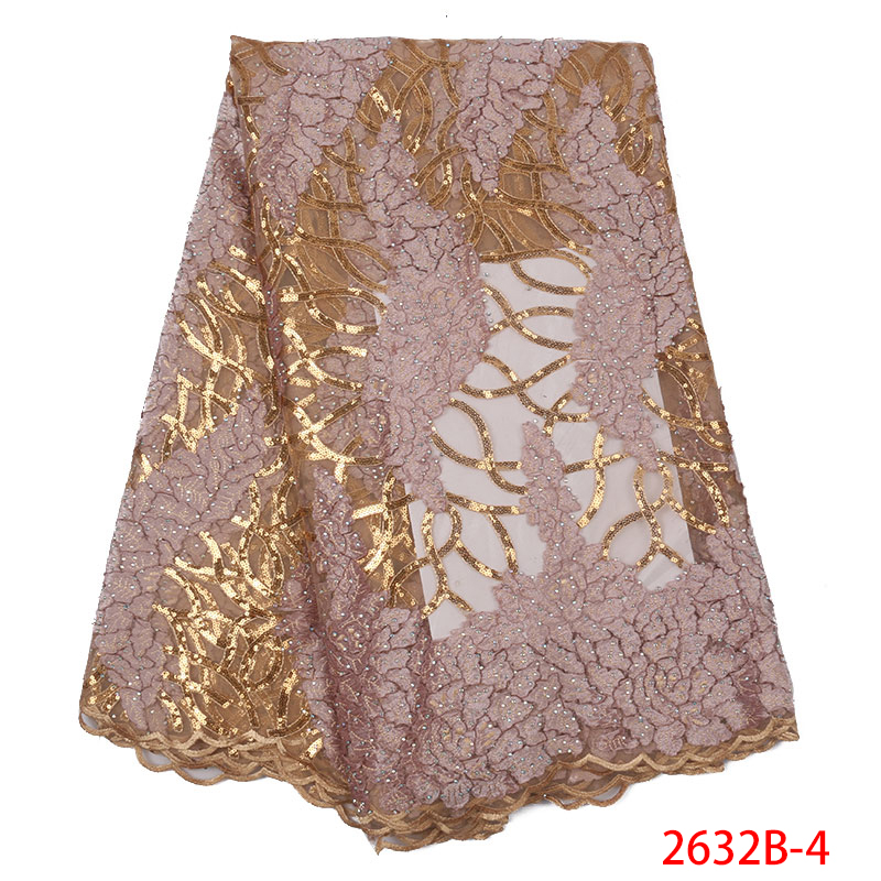 African Lace Fabric 2019 High Quality Lace French Velvet Lace Fabric Tulle Lace With Sequins Stones For Woman KS2632B-4