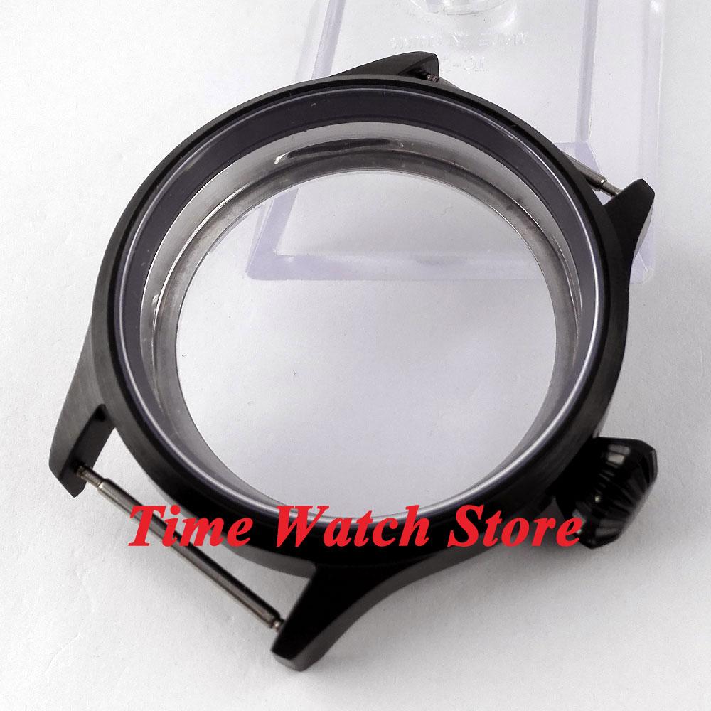 Fit ETA 6497 6498 movement 43mm watch case sapphire glass black PVD stainless steel watch case CX1Fit ETA 6497 6498 movement 43mm watch case sapphire glass black PVD stainless steel watch case CX1