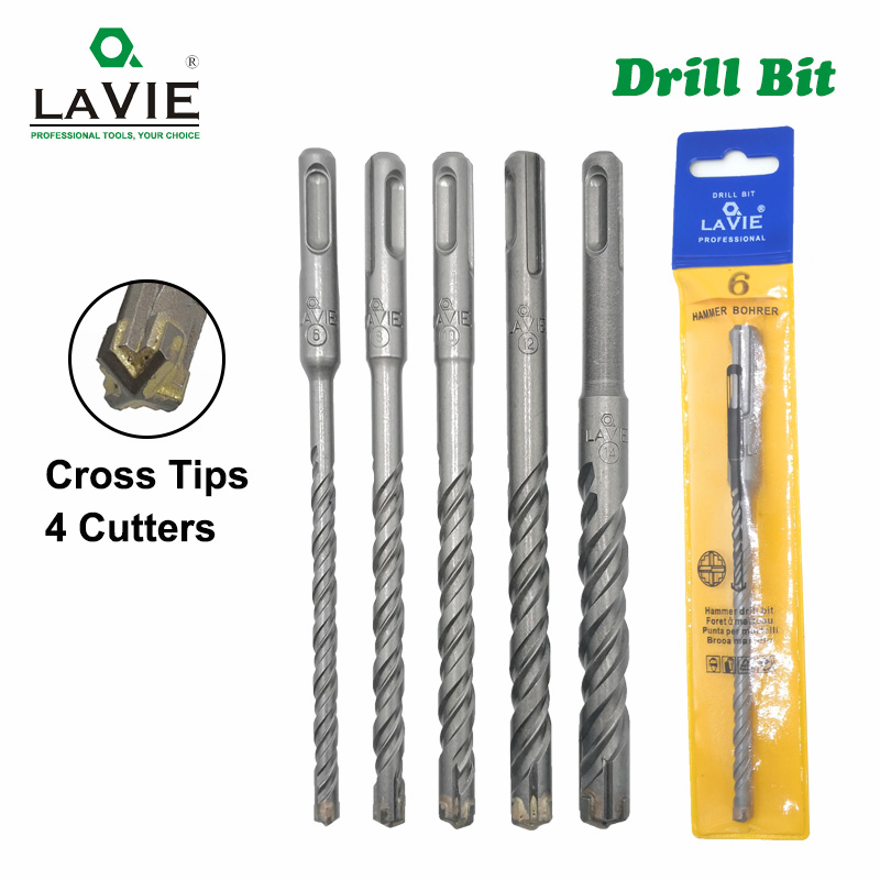 5pcs Electric Hammer SDS Plus Drill Bit Set Cross Tips 4 Cutters 160mm For Concrete Wall Brick Block Masonry Drilling Bits 6mm
