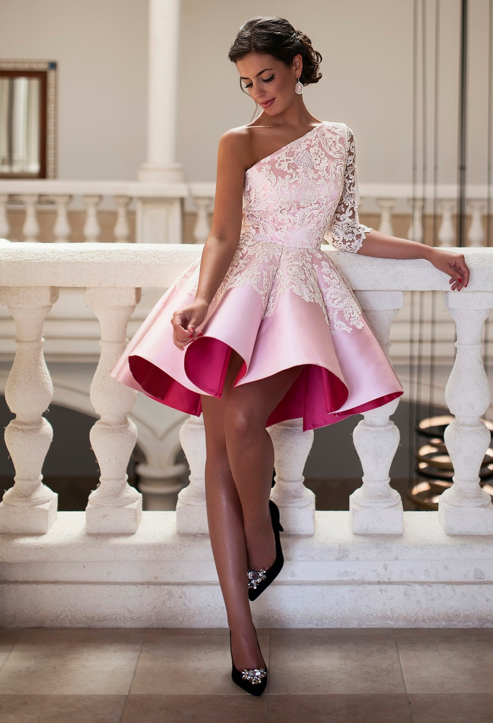 Sexy A Line Lace Pink Short 2019 Elegant Satin Appliques One Shoulder Three Quarter Sleeve New Arrival Gowns   bridesmaid     dresses