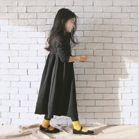 Hot 2019 Fall Winter Family Matching Clothing Dresses Mother & Girls Korean Fashion Velvet Long Dress Kids Solid One Piece G390