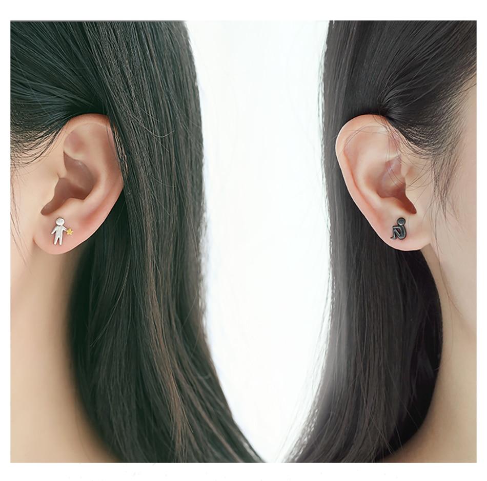 HTB1VRbzE1SSBuNjy0Flq6zBpVXaz Thaya Picking Gold Stars for You Design Stud Earrings s925 Silver Asymmetry Figure Earring for Women Elegant Texture Jewelry