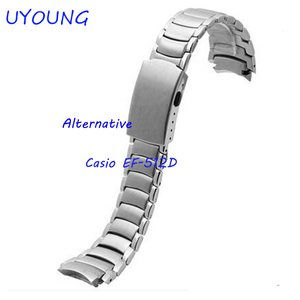 Image 2 - UYOUNG Watchband For Casio EF 512D Solid stainless steel Watch bands Bracelet Watch accessories Silver Strap