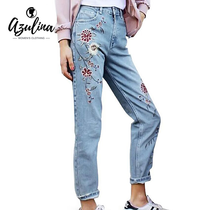 AZULINA Vintage Flower Embroidery Women Jeans Light Blue Elegant Casual Pants Spring Summer Straight Skinny Demin Jeans Bottom wmwmnu flower embroidery jeans female light blue casual pants capris 2017 spring new pockets straight jeans women bottom f180