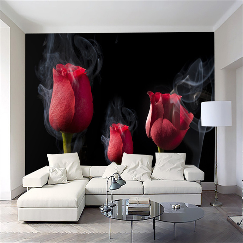 custom modern 3d photo non-woven wallpaper romantic smoke red rose living room bedroom TV background wall paper home decor 3d modern wallpapers home decor flower wallpaper 3d non woven wall paper roll bird trees wallpaper decorative bedroom wall paper