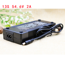 AERDU 13S 54.6V 2A 48V Lithium ion battery pack charger 5.5*2.1mm Universal AC DC Power Supply Adapter EU/US/AU/UK Plug