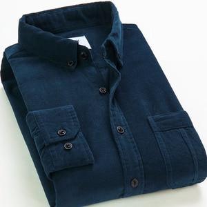 Image 3 - Spring Men Corduroy Shirt 100% Cotton Long Sleeves Bottoming Shirt Slim Wine Red High Quality 4XL