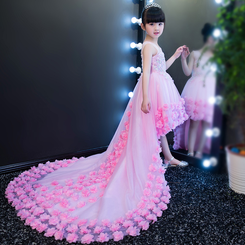 Luxury baby girls elegant model show princess mesh dresses long tail evening ball gown party wedding