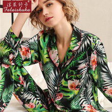 2019 Heavy Silk Pajama Female Spring Autumn Sexy Real Sleepwear Fashion Printed 100% Silkworm Woman Pyjama Sets T8190
