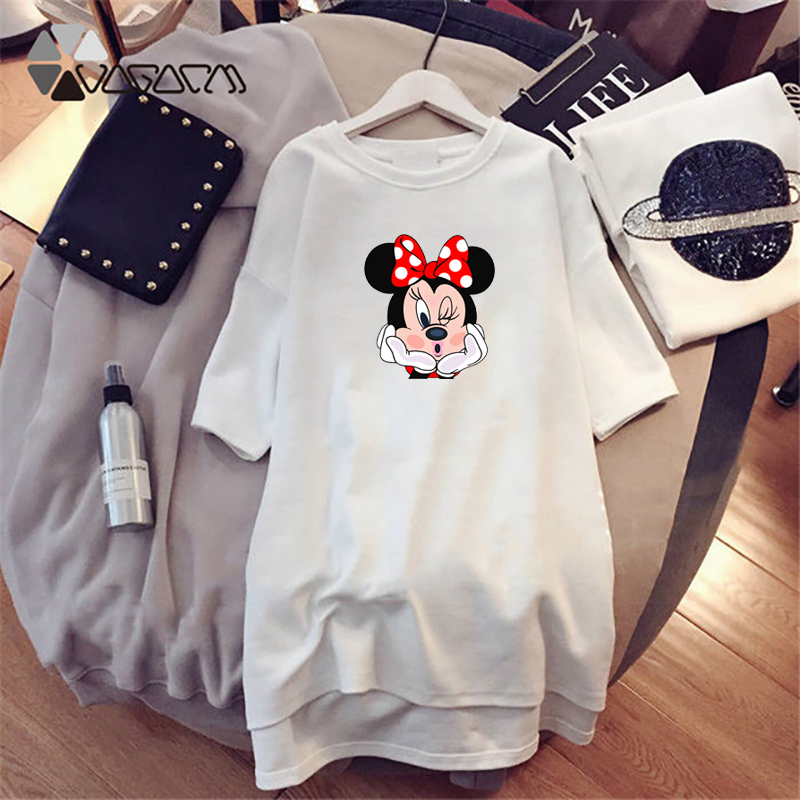 Image 2 - 2019 Summer Women Dresses Minnie Mickey Cartoon Print Casual Loose White Mini Women Clothing Big Size Dress Femme-in Dresses from Women's Clothing