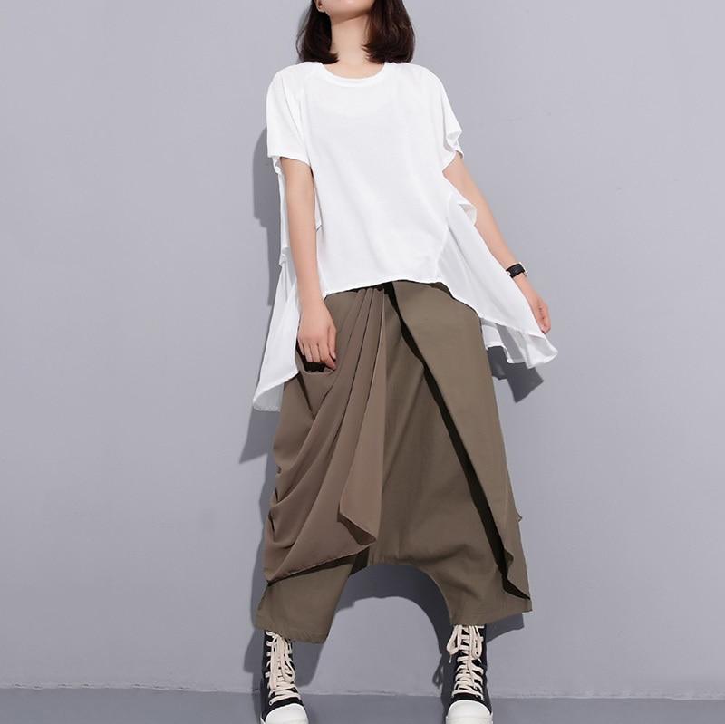 [EAM] 2018 New Summer High Elastic Waist Black Fold Bandage Split Joint Loose Long Cross-pants Women Trousers Fashion 1