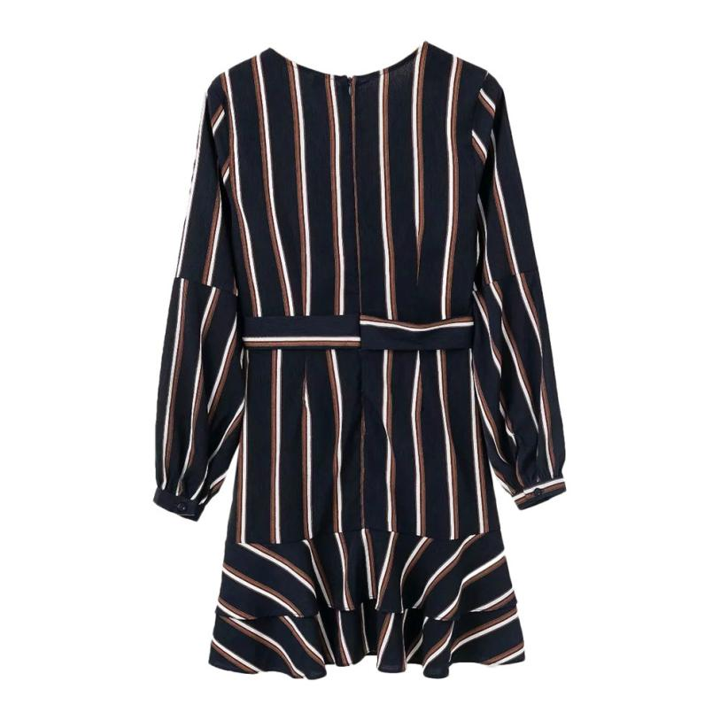 KANCOOLD Dress Women's Fashion Lantern Sleeve Casual Striped V-Neck Dress Casual Ruffle Mini Party Dress women 18AUG9 7