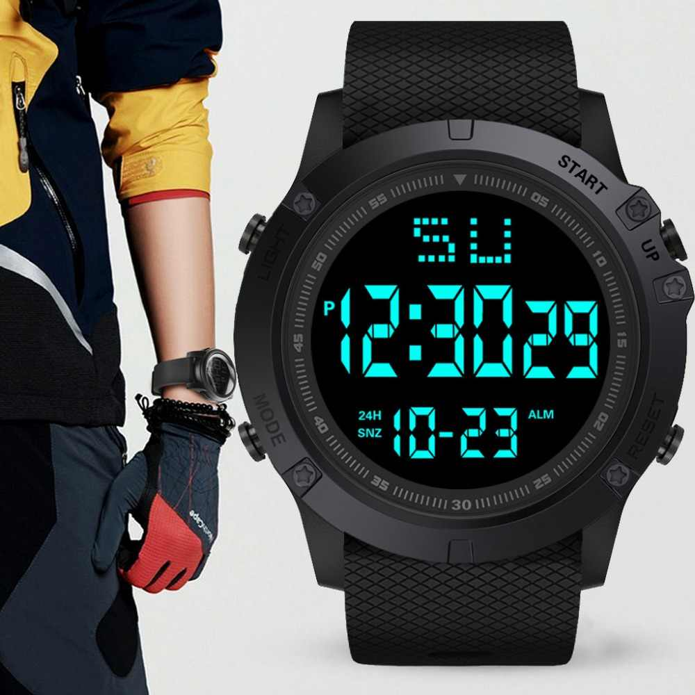 Men's Sport Watch Fashion LED Digital Date Military Sport Rubber Band Quartz Watch Alarm Waterproof Clock Relogio Masculino A40