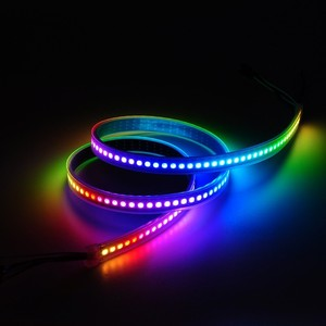 Image 3 - Tira de luces Led inteligentes DC5V 1m/2m/3m/4m/5m WS2812B 30/60/144Leds/m, PCB Blanco/Negro WS2812 IC, resistente al agua, direccionable individualmente