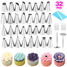 Memokey 32 PCS/Set Silicone Pastry Bag Nozzles DIY Icing Piping Cream Reusable Pastry Bags +32 Nozzle Set Cake Decorating Tool C ttlife 112pcs pastry nozzles cake cream icing piping nozzles set christmas halloween decorating tools pastry tool silicone bag