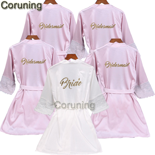 edbb4ca932 Lace sleeve sexy women nightwear robes plus size gold letter wedding kimono  satin silk female bathrobes bridemaids robes