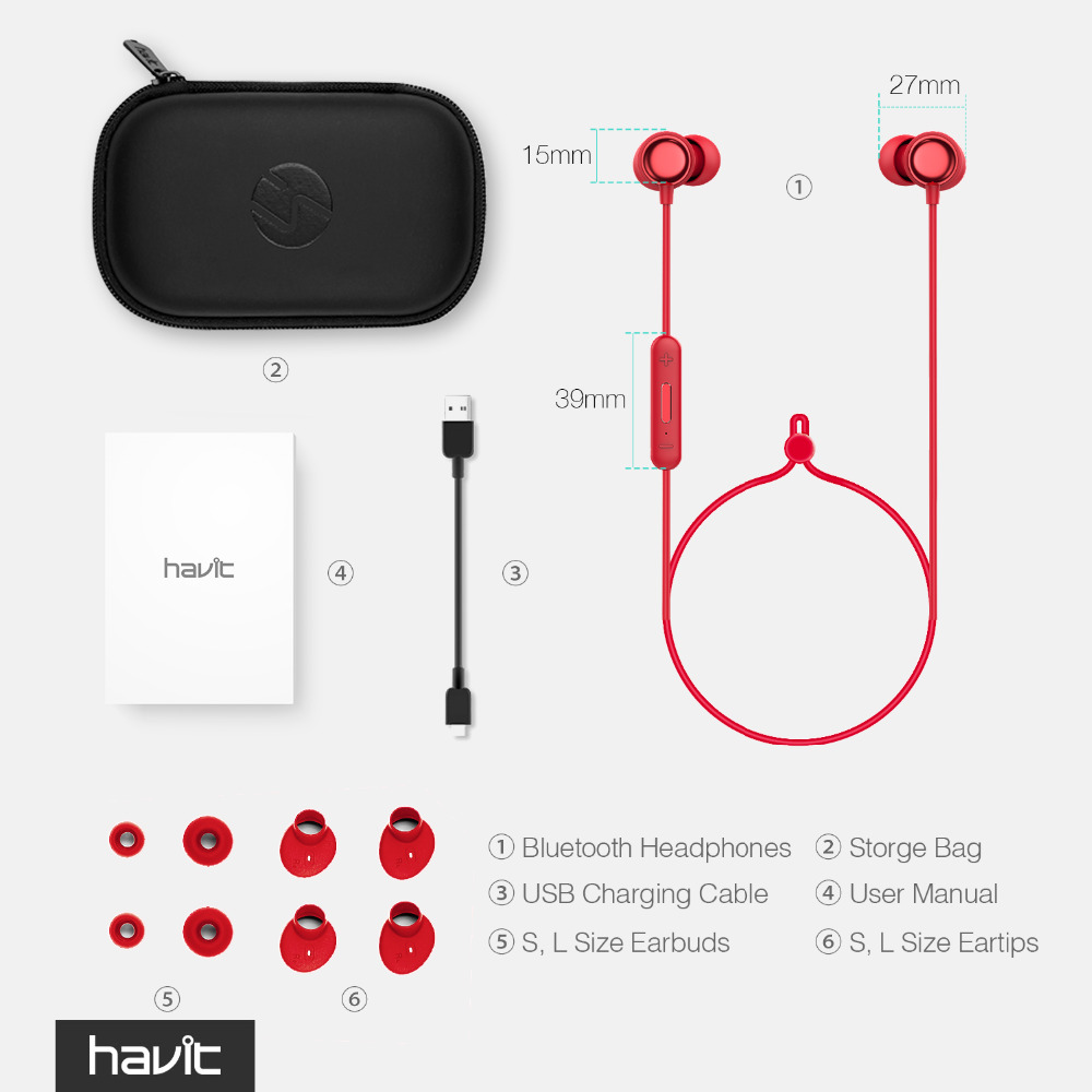 US $25 64  HAVIT I39 Bluetooth Earphone V4 2 IPX5 Sweatproof Portable Sport  Headset Waterproof Bluetooth Earbuds Stereo Earphones With Mic-in