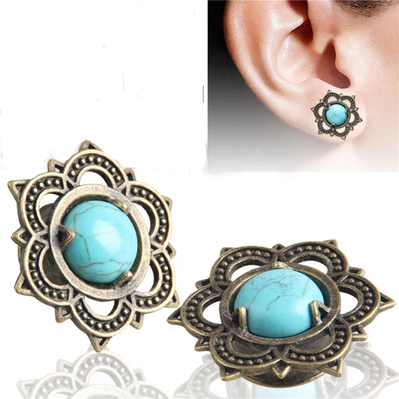 Stone-Ear-Plugs Piercings Tunnels Body-Jewelry Gift Ear-Stretched Expansion Fashion Fesh