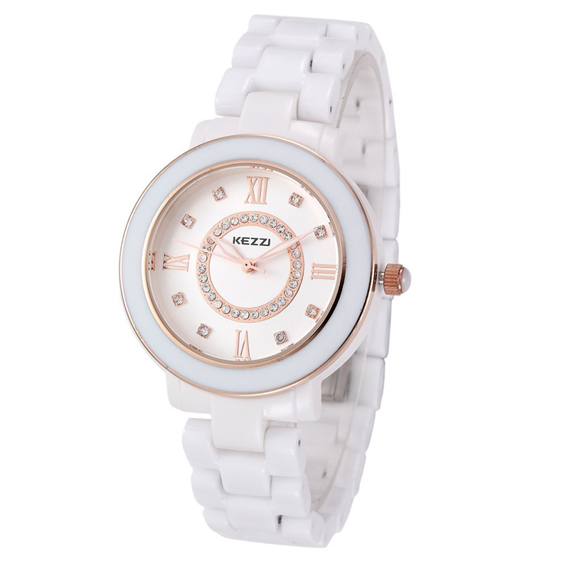 Lover Wristwatches Crystal Ceramic Quartz Diamond Kezzi Gold Silver Casual Watches Fashion WhiteJewelry relogios femininos k808