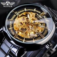 Gagnant Transparent travail ouvert noir acier inoxydable hommes automatique mécanique montres bracelets squelette haut marque luxe mâle horloge