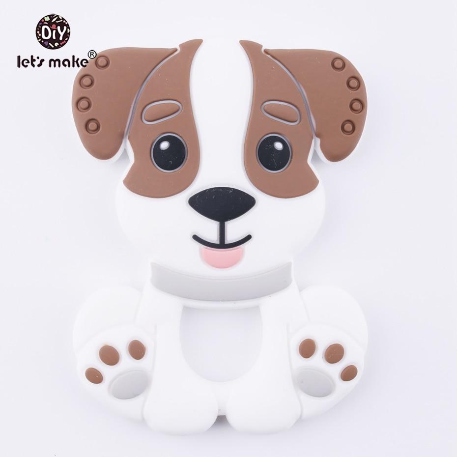 Let's Make 1pc Cartoon Dog Baby Teether Cute Toys Brown Color BPA Free DIY Nursing Teething Pendants Food Grade Silicone Teether