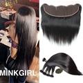 8A Mink Cabelo Brasileiro Virgem Com Fechamento 3 pc Reta Brasileira cabelo Com Fecho de Orelha A Orelha Fechamento Frontal Com Renda feixes