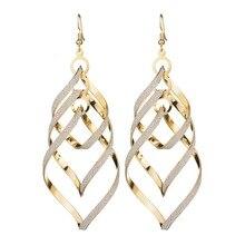 Fashion pop rock and roll European American personality earrings golden multi-layer peach heart grinding Earrings