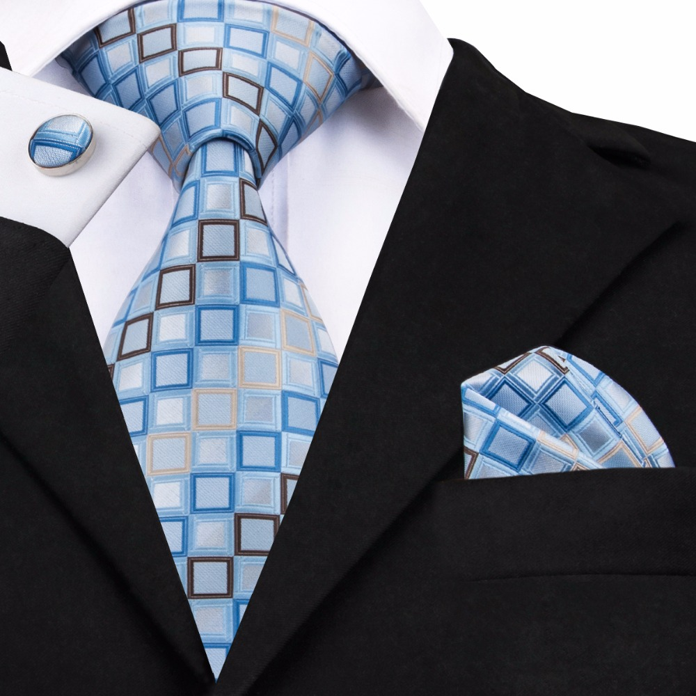 SN-1128 Blue Yellow Geometric Tie Hanky Cufflinks Sets Men's 100% Silk Ties For Men Formal Wedding Party Groom