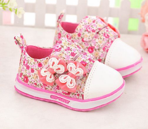 Kids Shoes For Girls Sneaker with flower Spring Casual Child Canvas Shoes Baby Lace-Up Princess Girls Breathable Shoes
