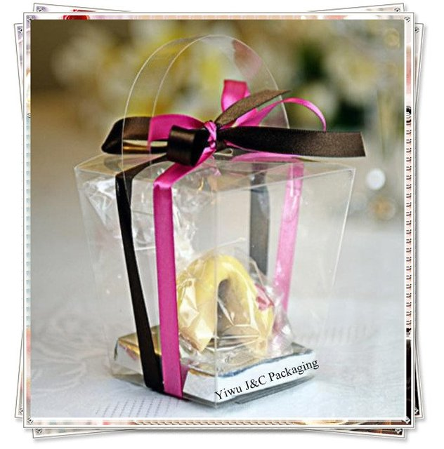 100pcs Clear Pvc Tote Party Cupcake Bo With Silver Insert