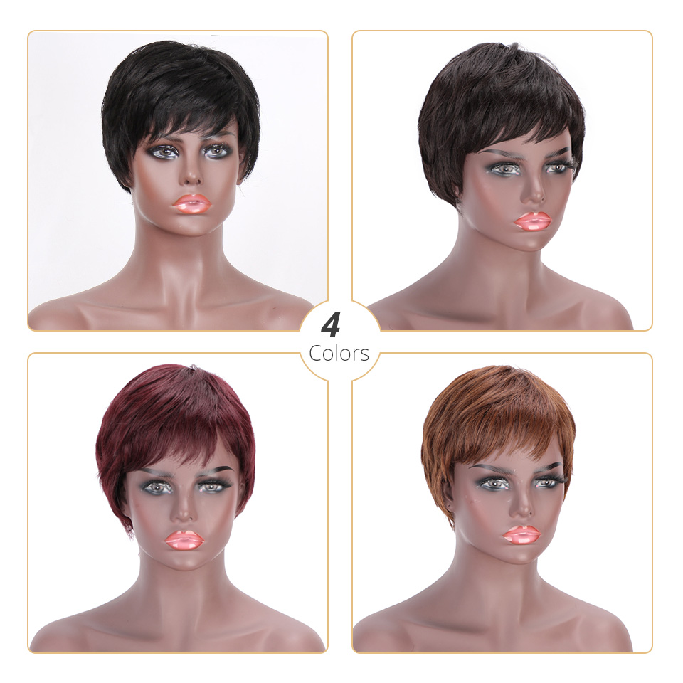 Doris beauty Synthetic Black Short Women Wig Straight Wigs for Women Brown Natural Hair Heat Resistant Wigs with Bangs