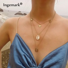 Ingemark Bohemia Multilayer Coconut Tree Shell Choker Necklace Statement Alloy Natural Seashell Pendant for Women