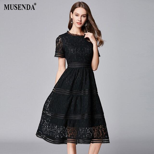 MUSENDA Plus Size Women Elagant Black Hollow Out Lace Tunic Midi Dress New 2018  Summer Sundress Ladies Party Beach Dresses 5XLUS  31.23 319a93faf2ea