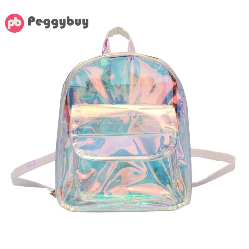 Herald Fashion Women Transparent Backpack Quality PVC Cool Mini Clear Bag Student Harajuku School Bag Holographic Small Backpack