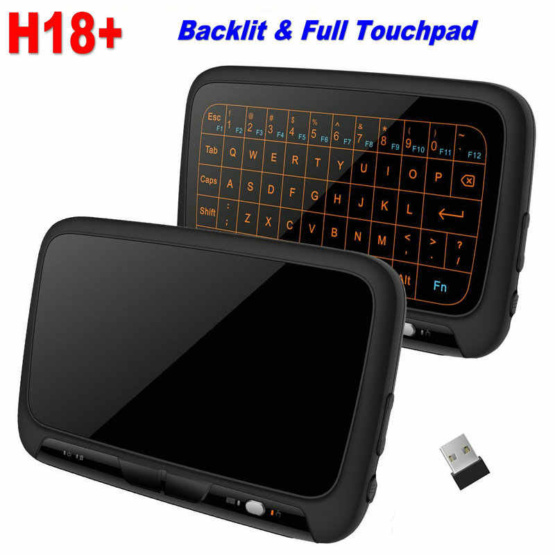 H18 Plus 2.4GHz Wireless Mini Keyboard Touchpad Met achtergrondverlichting Functie Air Mouse Game Toetsenborden met Achtergrondverlichting Voor Smart TV PS3